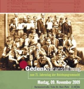 Gedenkveranstaltung zum 61. Jahrestag der Reichspogromnacht am 9. November 2009