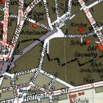2-Historische Stadtkarte. In der Bildmitte die Straße Hermannshöhe, in der Heinrich Schmitz im Haus Nr. 2a wohnte.