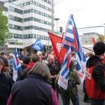 1- Die Auftaktkundgebung fand am Hauptbahnhof statt