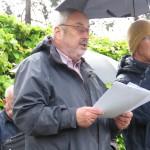 Günter Gleising, Vorsitzender der NNV-BdA Bochum, bei der Abschlussrede