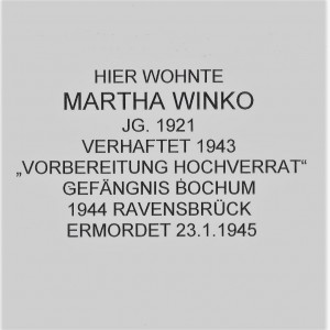 Die Inschrift auf dem Stolperstein für Martha Winko