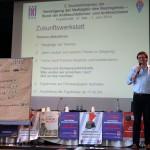 Zukunftswerkstatt: Georg Chodinski informiert die  KongressteilnemerInnen über die  Arbeitsgruppen der Zunkunftswerkstatt.