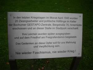 Gedenktafel im Stadtpark