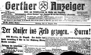 Gerther Anzeiger vom 17.08.1914
