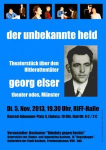 Plakat zum Theaterstück Georg Elser